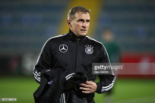 Head coach Stefan Kuntz of Germany looks on prior to the UEFA Under21 Euro 2019 Qualifier match between Azerbaijan U21 and Germany U21 at Dalga Arena...