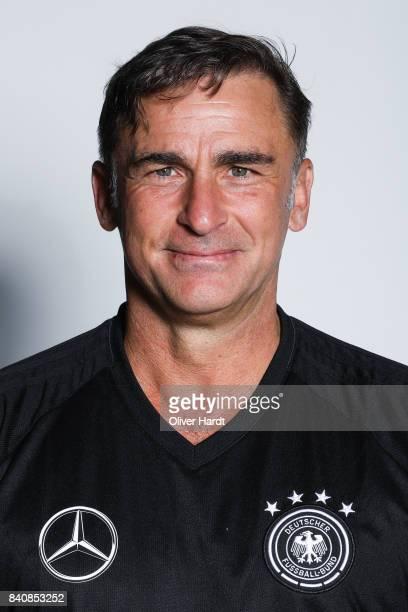 Head coach Stefan Kuntz of Germany poses for the Germany U21 Team Presentation on August 29 2017 in Harsewinkel Germany