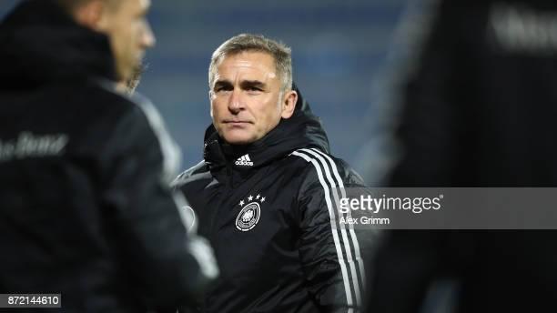 Head coach Stefan Kuntz of Germany reacts after the UEFA Under21 Euro 2019 Qualifier match between Azerbaijan U21 and Germany U21 at Dalga Arena on...
