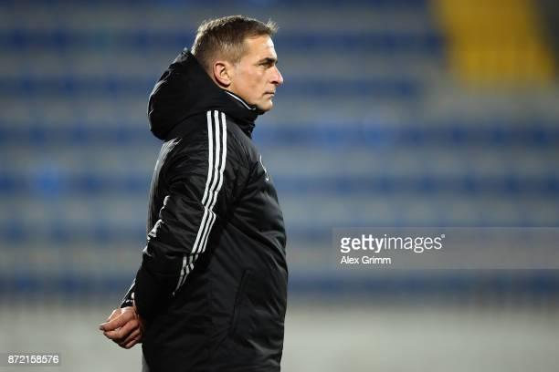 Head coach Stefan Kuntz of Germany reacts during the UEFA Under21 Euro 2019 Qualifier match between Azerbaijan U21 and Germany U21 at Dalga Arena on...