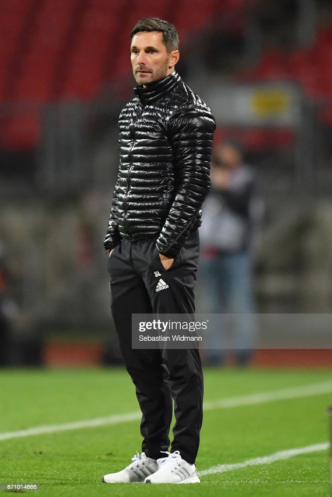 Head coach Stefan Leitl of FC Ingolstadt 04 stands on the sideline during the Second Bundesliga match between 1. FC Nuernberg and FC Ingolstadt 04 at Max-Morlock-Stadion on November 6, 2017 in Nuremberg, Germany.