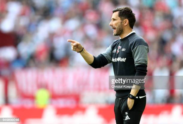 Head coach Stefan Leitl of Ingolstadt issues instructions during the Second Bundesliga match between Fortuna Duesseldorf and FC Ingolstadt 04 at...
