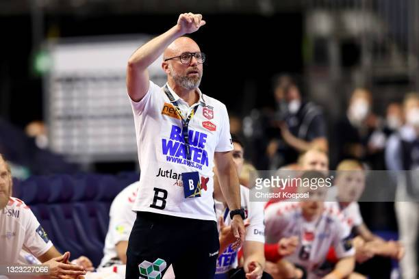 Head coach Stefan Madsen of Aalborg Handbold reacts during the VELUX EHF Champions League FINAL4 semi-final between Aalborg Handbold v Paris...