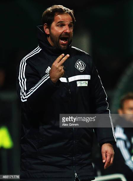 Head coach Stefan Ruthenbeck of Aalen reacts during the DFB Cup Round of 16 match between VfR Aalen and 1899 Hoffenheim at Scholz Arena on March 3...