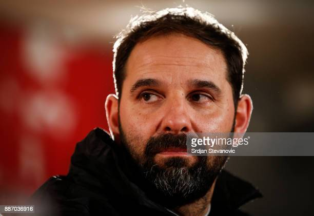 Head coach Stefan Ruthenbeck of FC Koeln speaks to the press ahead of the UEFA Europa League group H match between Crvena Zvezda and FC Koeln at...