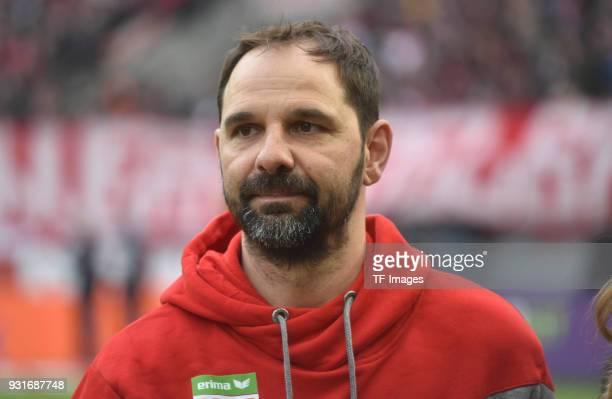 Head coach Stefan Ruthenbeck of Koeln looks on prior to the Bundesliga match between 1 FC Koeln and VfB Stuttgart at RheinEnergieStadion on March 4...