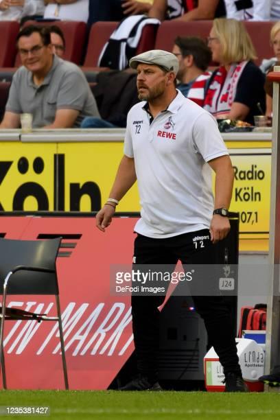 Head coach Steffen Baumgart of 1. FC Koeln looks on during the Bundesliga match between 1. FC Koeln and RB Leipzig at RheinEnergieStadion on...