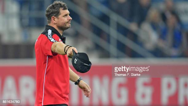 Head coach Steffen Baumgart of Paderborn celebrates after winning the 3 Liga match between SC Paderborn 07 and FC Hansa Rostock at Benteler Arena on...