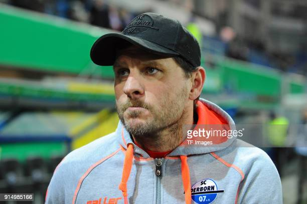 Head coach Steffen Baumgart of Paderborn looks dejected during the DFB Cup match between SC Paderborn and Bayern Muenchen at Benteler Arena on...