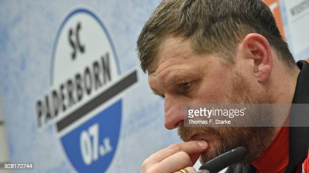Head coach Steffen Baumgart of Paderborn looks on at the press conference after the 3 Liga match between SC Paderborn 07 and 1 FC Magdeburg at on...