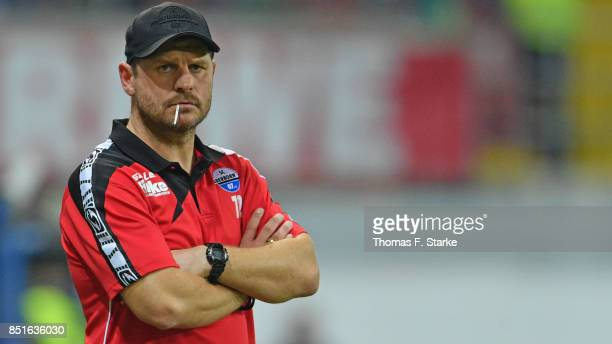 Head coach Steffen Baumgart of Paderborn looks on during the 3 Liga match between SC Paderborn 07 and FC Hansa Rostock at Benteler Arena on September...