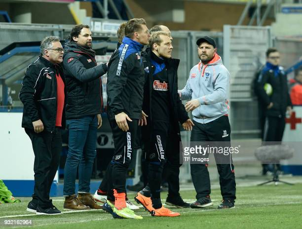 Head coach Steffen Baumgart of Paderborn looks on during the 3 Liga match between SC Paderborn 07 and 1 FC Magdeburg at BentelerArena on March 6 2018...