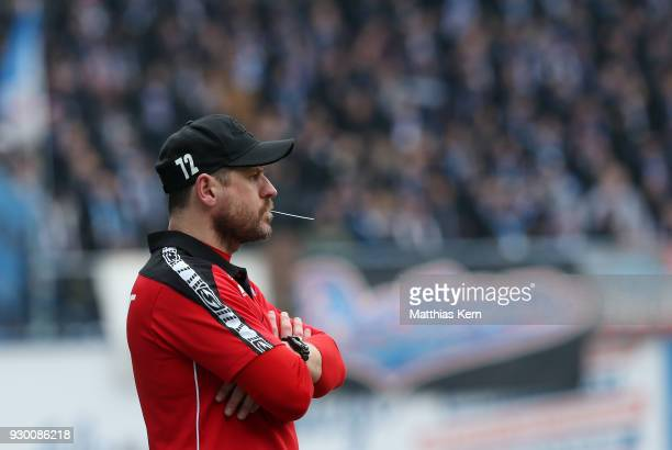 Head coach Steffen Baumgart of Paderborn looks on during the 3Liga match between FC Hansa Rostock and SC Paderborn 07 at Ostseestadion on March 10...