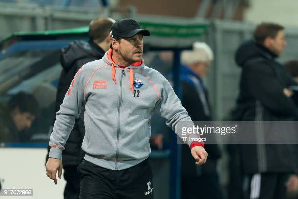 Head coach Steffen Baumgart of Paderborn looks on during the DFB Cup match between SC Paderborn and Bayern Muenchen at Benteler Arena on February 6...