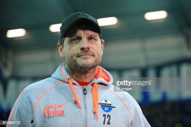 Head coach Steffen Baumgart of Paderborn looks on prior the DFB Cup match between SC Paderborn and Bayern Muenchen at Benteler Arena on February 6...