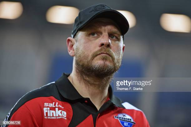 Head coach Steffen Baumgart of Paderborn looks on prior to the 3 Liga match between SC Paderborn 07 and 1 FC Magdeburg at on March 6 2018 in...