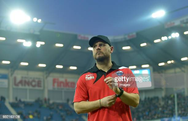 Head coach Steffen Baumgart of Paderborn looks on prior to the 3 Liga match between SC Paderborn 07 and 1 FC Magdeburg at BentelerArena on March 6...
