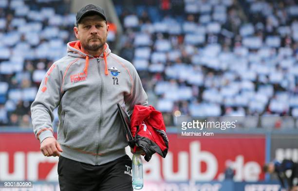 Head coach Steffen Baumgart of Paderborn looks on prior to the 3Liga match between FC Hansa Rostock and SC Paderborn 07 at Ostseestadion on March 10...