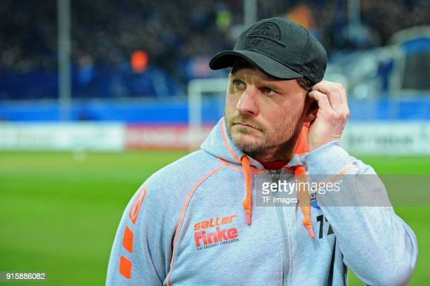 Head coach Steffen Baumgart of Paderborn looks on prior to the DFB Cup match between SC Paderborn and Bayern Muenchen at Benteler Arena on February 6...