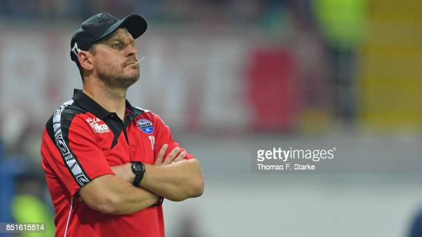 Head coach Steffen Baumgart of Paderborn reacts during the 3 Liga match between SC Paderborn 07 and FC Hansa Rostock at Benteler Arena on September...