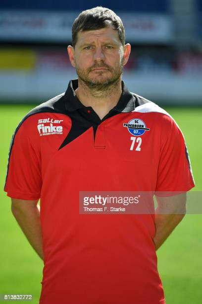 Head coach Steffen Baumgart poses during the Third League team presentation of SC Paderborn 07 at Benteler Arena on July 13 2017 in Paderborn Germany