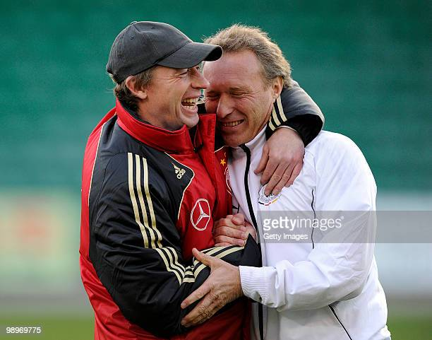 Head Coach Steffen Freund and Henry Rehnisch of Germany celebrate the victory during the U16 international friendly match between Denmark and Germany...
