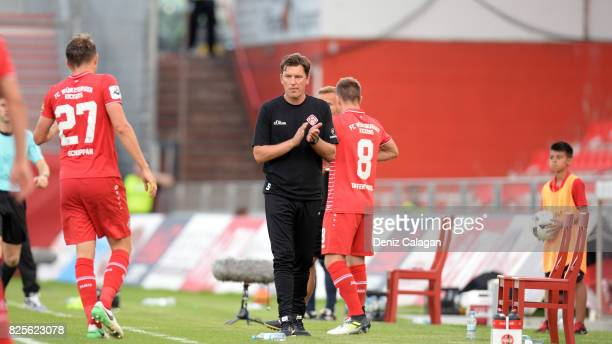 Head coach Stephan Schmidt of Wuerzburg reacts during the 3 Liga match between FC Wuerzburger Kickers and SC Preussen Muenster at on August 2 2017 in...