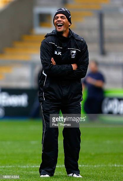 Head coach Stephen Kearney of New Zealand laughs during the New Zealand training session at Halliwell Jones Stadium on October 26, 2013 in...