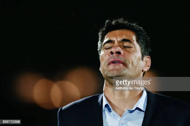 Head Coach Stephen Kearney of the Warriors reacts after losing the round 25 NRL match between the New Zealand Warriors and the Manly Sea Eagles at Mt...