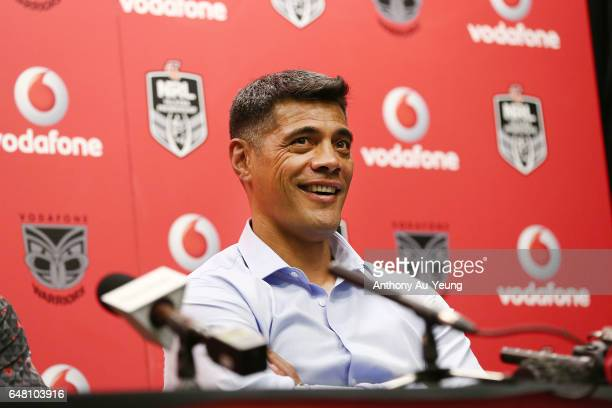 Head Coach Stephen Kearney of the Warriors talks to the media after the round one NRL match between the New Zealand Warriors and the Newcastle...