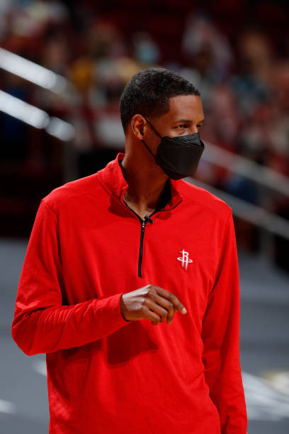 Head Coach, Stephen Silas of the Houston Rockets looks on during the game against the Minnesota Timberwolves on April 27 at the Toyota Center in...