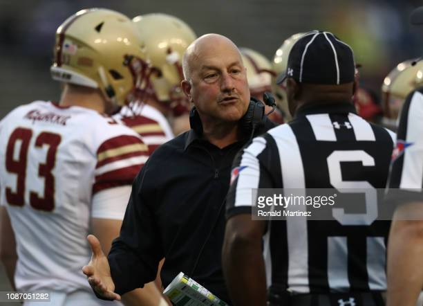 Head coach Steve Addazio of the Boston College Eagles during the SERVPRO First Responder Bowl at Cotton Bowl on December 26 2018 in Dallas Texas