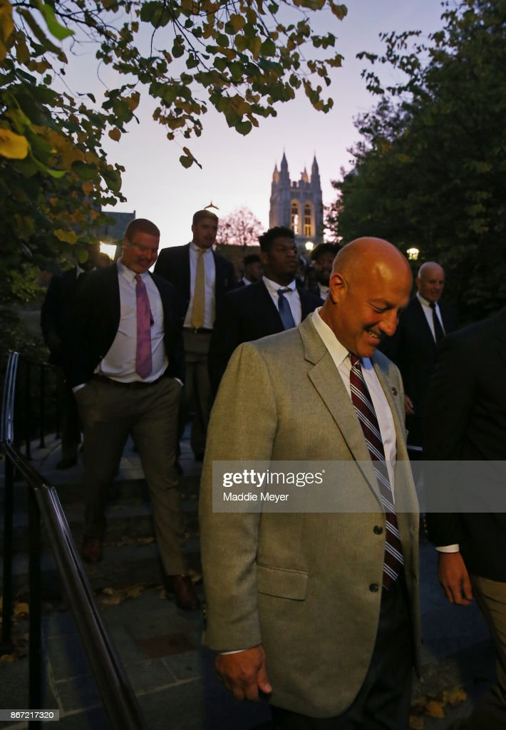 Head coach Steve Addazio of the Boston College Eagles leads his team in the 'Eagle Walk' towards Alumni Stadium before their game against the Florida State Seminoles on October 27, 2017 in Chestnut Hill, Massachusetts.