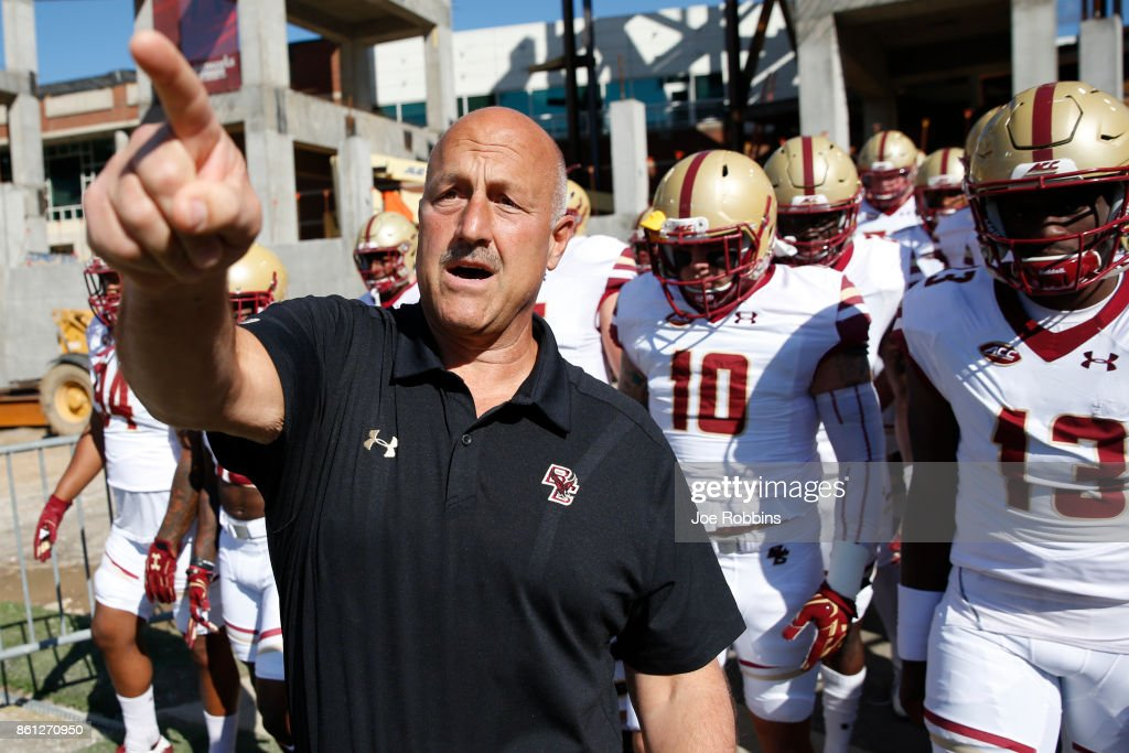 Head coach Steve Addazio of the Boston College Eagles takes his team to the field before a game against the Louisville Cardinals at Papa John's Cardinal Stadium on October 14, 2017 in Louisville, Kentucky.