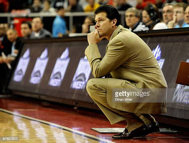 Head coach Steve Alford of New Mexico watches his players during their 7569 quarterfinal game victory over the Air Force Falcons at the Conoco...