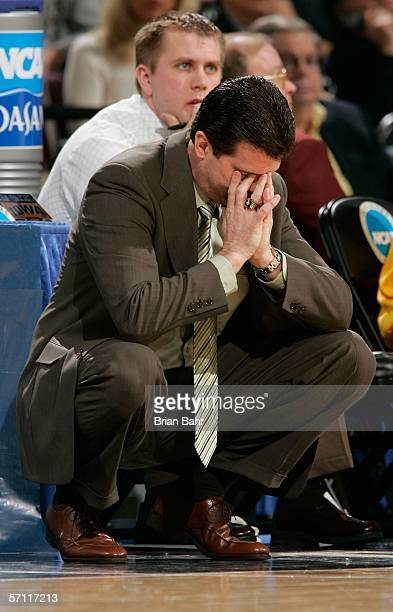 Head coach Steve Alford of the Iowa Hawkeyes drops his head on the sidelines during the First Round of the 2006 NCAA Men's Basketball Tournament...