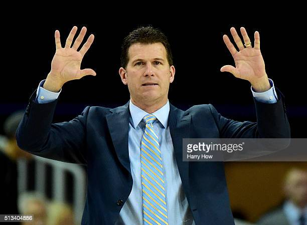 Head coach Steve Alford of the UCLA Bruins calls a play during the first half against the Oregon Ducks at Pauley Pavilion on March 2 2016 in Los...