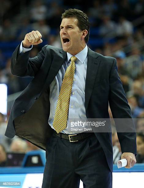 Head coach Steve Alford of the UCLA Bruins celebrates during the game with the Utah Utes at Pauley Pavilion on January 29 2015 in Los Angeles...