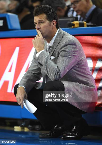 Head coach Steve Alford of the UCLA Bruins during the game against the South Carolina State Bulldogs at Pauley Pavilion on November 17 2017 in Los...