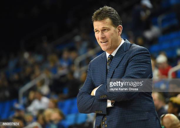 Head coach Steve Alford of the UCLA Bruins during the game against the Detroit Mercy Titans at Pauley Pavilion on December 3 2017 in Los Angeles...