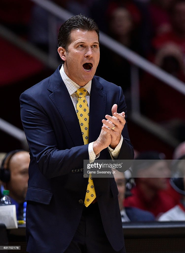 Head coach Steve Alford of the UCLA Bruins gestures from the sideline during the Bruins 83-82 win over the Utah Utes at the Jon M. Huntsman Center on January 14, 2017 in Salt Lake City, Utah.