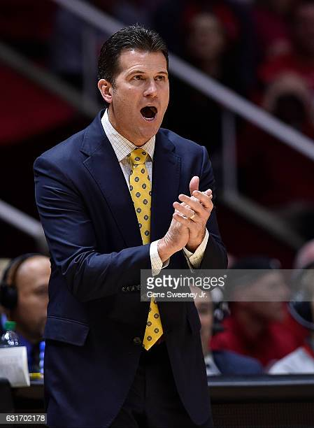 Head coach Steve Alford of the UCLA Bruins gestures from the sideline during the Bruins 8382 win over the Utah Utes at the Jon M Huntsman Center on...
