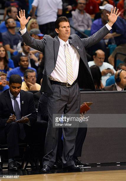 Head coach Steve Alford of the UCLA Bruins gestures to his players during the championship game of the Pac12 Basketball Tournament against the UCLA...