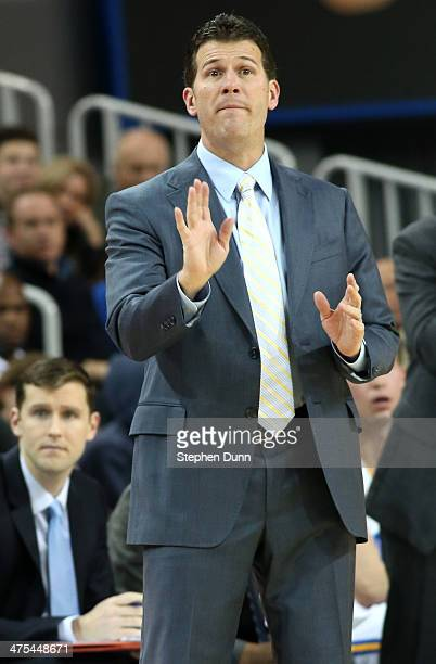 Head coach Steve Alford of the UCLA Bruins gives instructions in the game against the Oregon Ducks at Pauley Pavilion on February 27 2014 in Los...