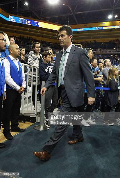 Head coach Steve Alford of the UCLA Bruins leaves the court after defeating the Western Michigan Broncos 8268 at Pauley Pavilion on December 21 2016...