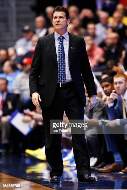 Head coach Steve Alford of the UCLA Bruins looks on against the St Bonaventure Bonnies during the second half of the First Four game in the 2018 NCAA...