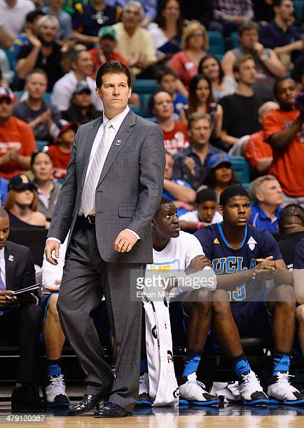 Head coach Steve Alford of the UCLA Bruins looks on during the championship game of the Pac12 Basketball Tournament against the Arizona Wildcats at...