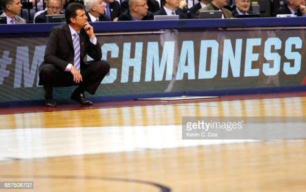 Head coach Steve Alford of the UCLA Bruins looks on in the second half against the Kentucky Wildcats during the 2017 NCAA Men's Basketball Tournament...