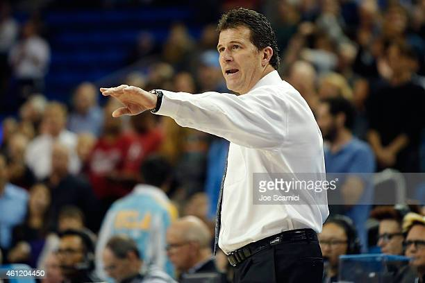 Head coach Steve Alford of the UCLA Bruins makes a call courtside during the game against the Stanford Cardinal at Pauley Pavilion on January 8 2015...