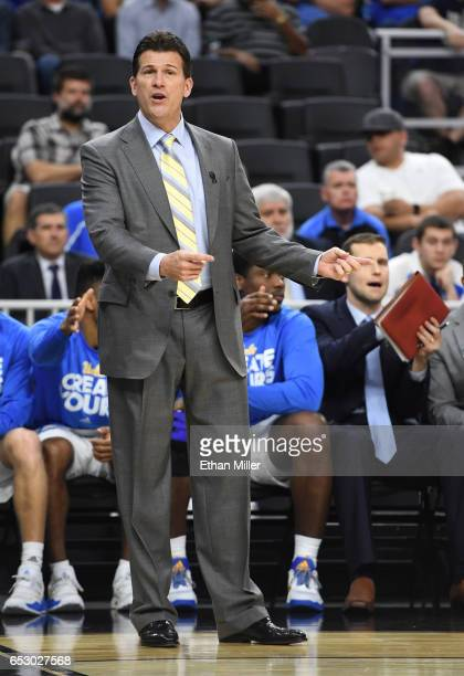 Head coach Steve Alford of the UCLA Bruins reacts during a quarterfinal game of the Pac12 Basketball Tournament against the USC Trojans at TMobile...